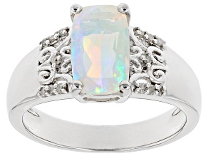 Multi-Color Ethiopian Opal Rhodium Over Sterling Silver Ring 1.21ctw