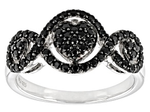Black Spinel Rhodium Over Sterling Silver Ring 0.64ctw
