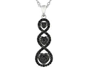 Black Spinel Rhodium Over Sterling Silver Pendant With Chain .73ctw