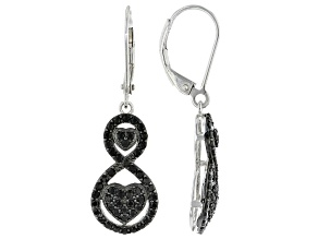 Black Spinel Rhodium Over Sterling Silver Earrings 1.02ctw