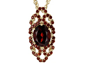 Red Garnet 18k Yellow Gold Over Sterling Silver Pendant With Chain 2.65ctw