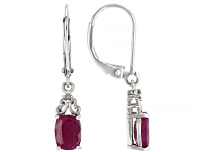 Red Ruby Rhodium Over Sterling Silver Earrings 2.22ctw