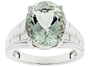 Green Prasiolite Rhodium Over Sterling Silver Solitaire Ring 4.00ct