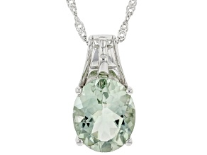 Green Parasiolite Rhodium Over Sterling Silver Solitaire Pendant With Chain 4.00ct