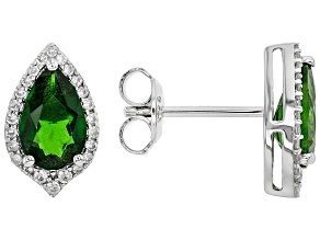 Green Chrome Diopside Rhodium Over Sterling Silver Earrings 1.78ctw