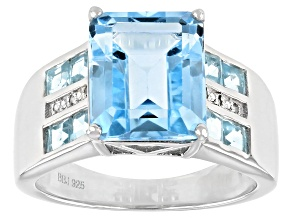 Blue Topaz Rhodium Over Sterling Silver Ring 5.61ctw