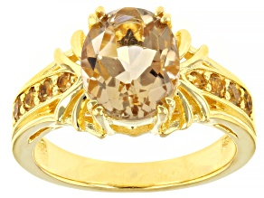Brown Champagne Quartz 18K Yellow Gold Over Silver Ring 2.21ctw