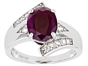 Red Ruby Rhodium Over Sterling Silver Ring 3.57ctw