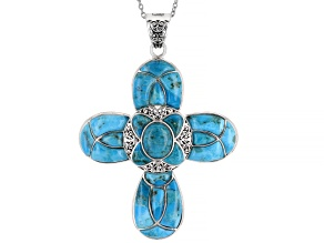 Blue Turquoise Rhodium Over Sterling Silver Pendant With Chain