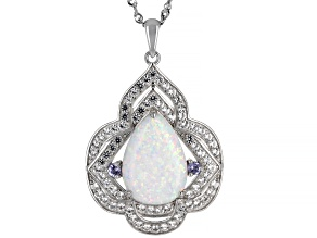 White Lab Created Opal Rhodium Over Sterling Silver Pendant Chain 1.70ctw