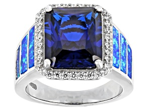 Blue Lab Created Spinel Rhodium Over Sterling Silver Ring. 6.26ctw
