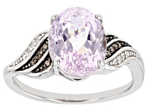 Pink Kunzite Rhodium Over Sterling Silver Ring 2.62ctw