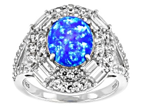 Blue Lab Created Opal Rhodium Over Sterling Silver Ring 1.48ctw