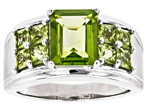 Green Peridot Rhodium Over Sterling Silver Ring 2.76ctw
