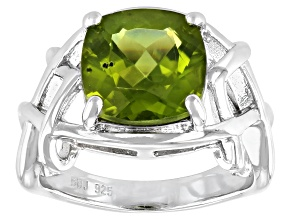 Green Peridot Rhodium Over Sterling Silver Solitaire Ring 3.91ct