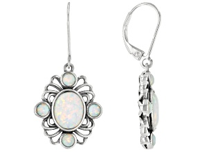 White Lab Created Opal Rhodium Over Sterling Silver Dangle Earrings