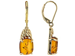 Orange Amber 18K Yellow Gold Over Sterling Silver Dangle Earrings