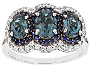 Blue Lab Created Alexandrite Rhodium Over Sterling Silver Ring 2.16ctw