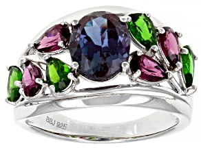 Blue Alexandrite Rhodium Over Sterling Silver Ring 3.54ctw