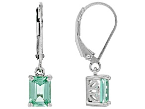 Green Lab Created Spinel Rhodium Over Sterling Silver Dangle Earrings 1.62ctw