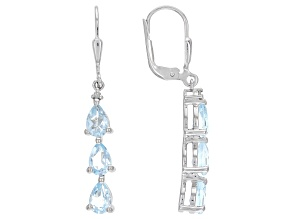Blue Topaz Rhodium Over Sterling Silver Dangle Earrings 2.62ctw