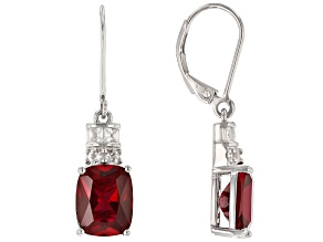 Red Lab Created Ruby Rhodium Over Sterling Silver Earrings 7.22ctw
