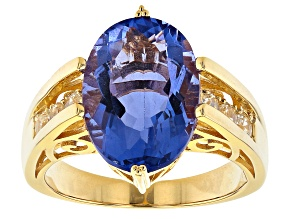 Blue Color Change Fluorite 18k Yellow Gold Over Sterling Silver Ring 6.79ctw