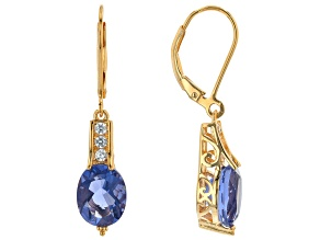 Blue Color Change Fluorite 18k Yellow Gold Over Silver Earrings 6.07ctw