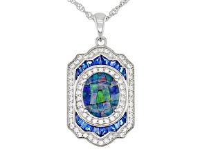 Multi-Color Mosaic Opal Triplet Rhodium Over Silver Pendant With Chain 1.51ctw