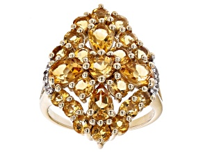 Yellow Citrine 18K Yellow Gold Over Silver Ring 3.43ctw
