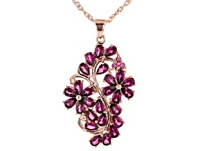 Purple Rhodolite 18k Rose Gold Over Sterling Silver Pendant With Chain 5.88ctw