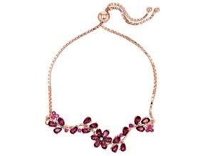 Purple Rhodolite 18k Rose Gold Over Sterling Silver Bolo Bracelet 4.85ctw