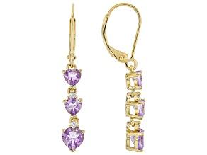 Purple Amethyst 18K Yellow Gold Over Sterling Silver Earrings 1.53ctw