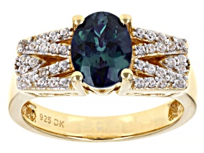 Lab Created Color Change Alexandrite 18K Yellow Gold Over Sterling Silver Ring 1.49ctw