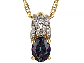 Lab Created Color Change Alexandrite 18K Yellow Gold Over  Silver Pendant With Chain 1.39ctw