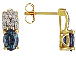 Lab Created Color Change Alexandrite 18K Yellow Gold Over Silver Earrings 1.92ctw