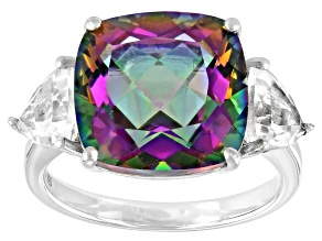 Multi Color Quartz  Rhodium Over Sterling Silver 3-Stone Ring 6.89ctw