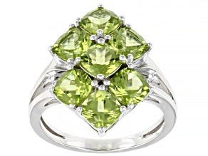 Green Peridot Rhodium Over Sterling Silver Ring 3.93ctw