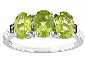 Green Peridot Rhodium Over Sterling Silver Ring 2.19ctw