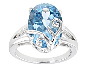 Blue Topaz Rhodium Over Sterling Silver Solitaire Ring 6.64ct