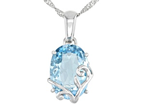 Blue Topaz Rhodium Over Sterling Silver Pendant With Chain 6.64ct