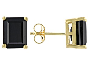 Black Spinel 18k Yellow Gold Over Sterling Silver Stud Earrings