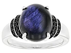 Blue Tigers Eye Quartz Rhodium Over Sterling Ring 0.20ctw