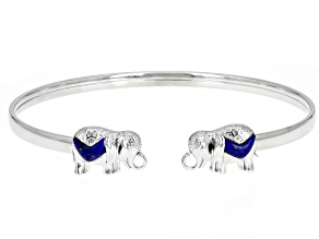 Lapis Lazuli Rhodium Over Silver Bangle Bracelet
