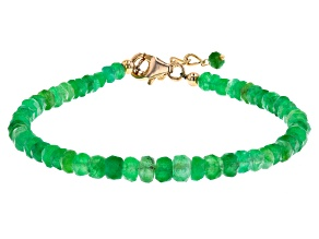 Green Emerald 18K Yellow Gold Over Sterling Silver Beaded Bracelet
