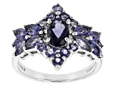 Blue Iolite Rhodium Over Sterling Silver Ring 1.71ctw