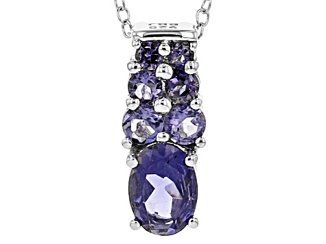 Blue Iolite Sterling Silver Pendant With Chain .84ctw