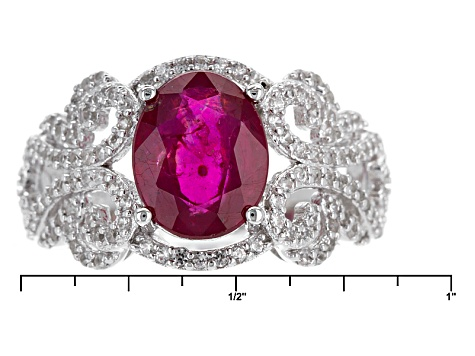 Mahaleo Ruby Sterling Silver Ring 3.74ctw