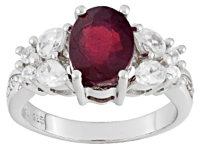 Mahaleo Ruby Sterling Silver Ring 3.53ctw
