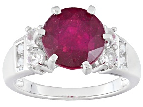 Mahaleo Ruby Sterling Silver Ring 3.84ctw